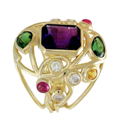 Fashion Ring with Colored Gemstones