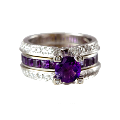 Removable Amethyst Center Ring and Diamond Insert Ring