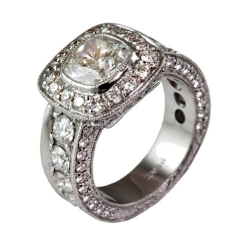 Wide Band with Halo, Cushion Cut and Round Diamonds