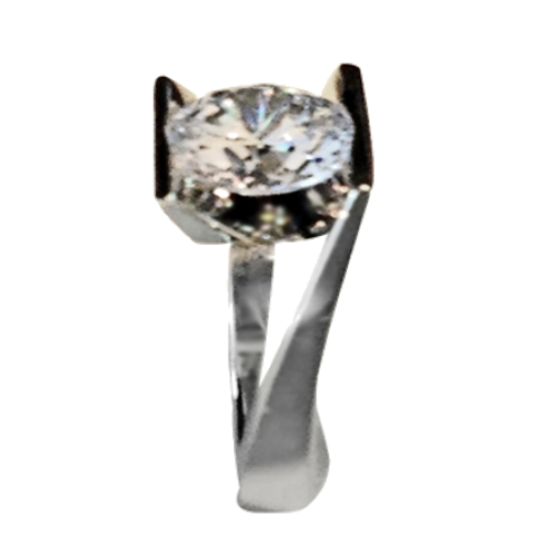Custom Made Platinum Ring with Four-Carat Gemstone