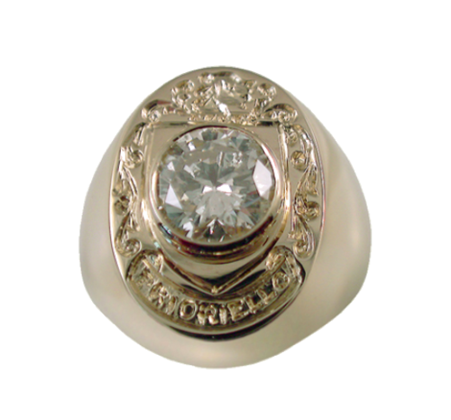 Custom Created Ring with Customer`s Diamond and Hand Engraved Family Crest